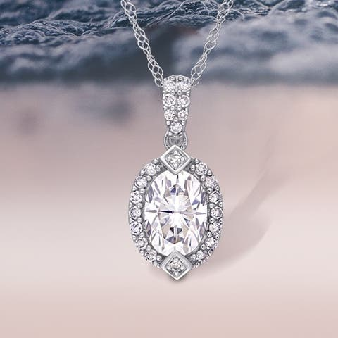Moissanite by Miadora 10k White Gold Moissanite and 1/8ct TDW Diamond Halo Drop Necklace