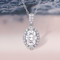 Moissanite by Miadora 10k White Gold Moissanite and 1/8ct TDW Diamond Halo Drop Necklace