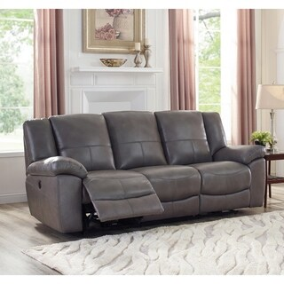 Ace Grey Top Grain Leather Lay Flat Power Reclining Sofa
