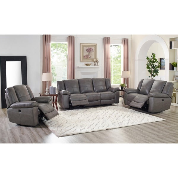 Shop Ace Grey Leather Lay Flat Power Reclining Sofa