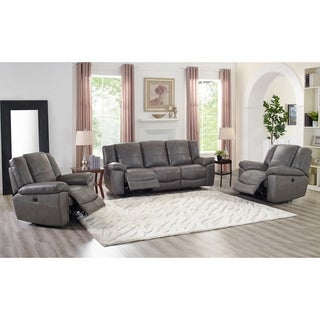 Ace Grey Leather Lay Flat Power Reclining Sofa and Two Chairs