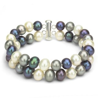 DaVonna Sterling Silver 2-row Multi Color Freshwater Cultured Pearl Bracelet, 8-9mm