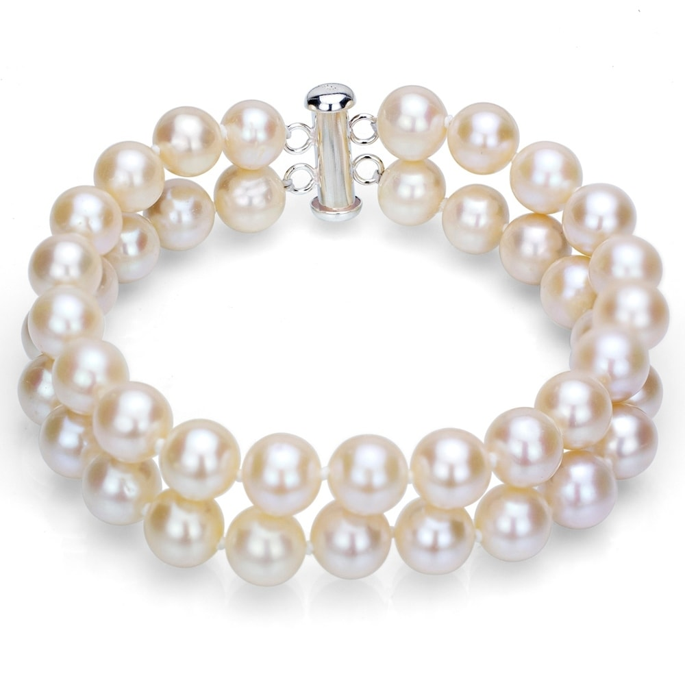 """Belle 2ROW 8-9 mm Real White Cultured Pearl Bracelet 7.5/"""""""