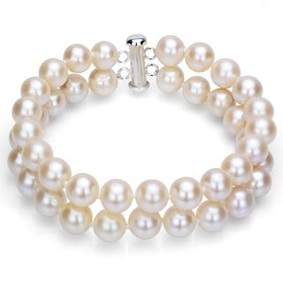 DaVonna Sterling Silver 2-row White Freshwater Cultured Pearl Bracelet, 8-9mm
