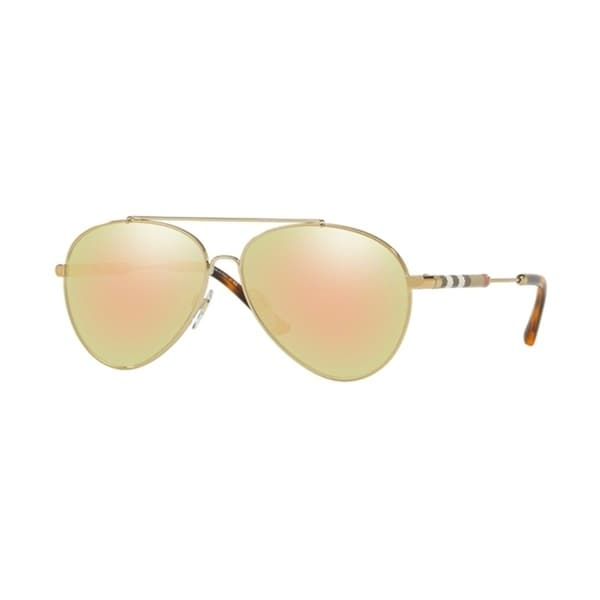 21fe5bc82a Shop Burberry Pilot BE3092Q WoMens BRUSHED LIGHT GOLD Frame GREY MIRROR ROSE  GOLD Lens Sunglasses - Free Shipping Today - Overstock - 24257335
