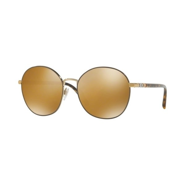 2fc800a0366c02 Shop Burberry Round BE3094 WoMens LIGHT GOLD Frame POLAR DARK BROWN MIR GOLD  Lens Sunglasses - Free Shipping Today - Overstock - 24257338