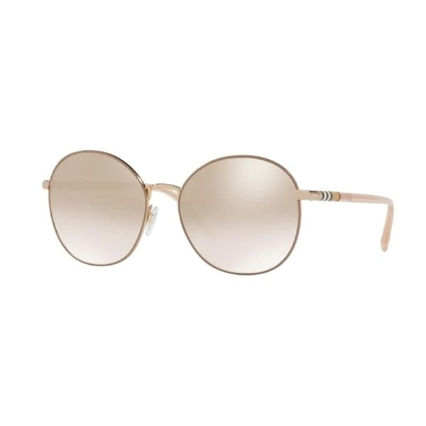 406096f0c30 Shop Burberry Round BE3094 WoMens GOLD Frame LIGHT BROWN MIRROR GRAD GOLD  Lens Sunglasses - Free Shipping Today - Overstock - 24257344