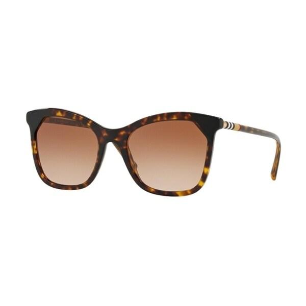 Burberry Square BE4263F WoMens DARK HAVANA/BLACK Frame BROWN GRADIENT Lens Sunglasses