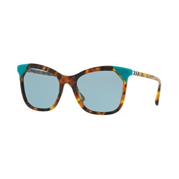 Burberry Square BE4263F WoMens BROWN HAVANA/AZURE Frame BLUE Lens Sunglasses