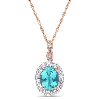 Miadora 14k Rose Gold Oval-Cut Apatite White Topaz and Diamond Halo Necklace