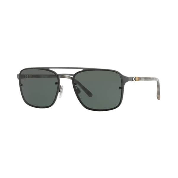 a234be1f4228 Shop Burberry Square BE3095 Mens GREY RUBBER Frame GREEN Lens Sunglasses -  Free Shipping Today - Overstock - 24257464
