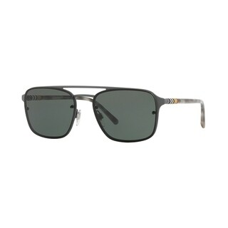 Burberry Square BE3095 Mens GREY RUBBER Frame GREEN Lens Sunglasses
