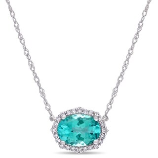 Miadora 10k White Gold Oval-Cut Apatite and 1/10ct TDW Diamond Halo Necklace