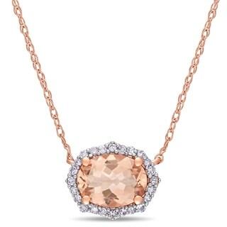 Miadora 10k Rose Gold Oval Cut Morganite And 1 10ct TDW Diamond Halo Necklace