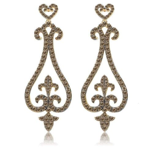 Avanti Yellow Gold Plated Sterling Silver and Brown CZ Drop Earrings
