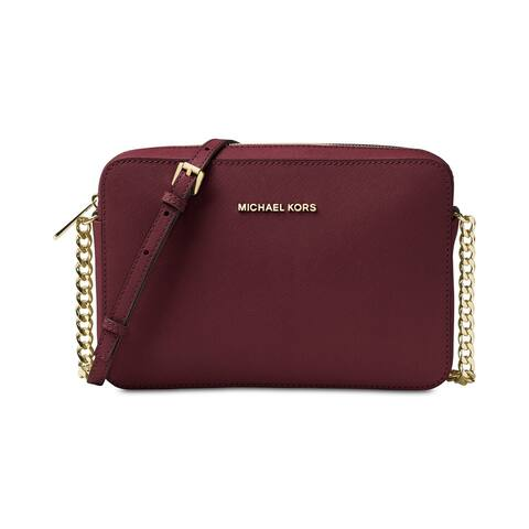 Michael Kors Jet Set Large Saffiano Leather Crossbody Bag- Oxblood