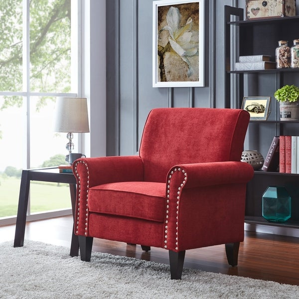 Copper Grove Herve Brick Red Velvet Arm Chair. Opens flyout.