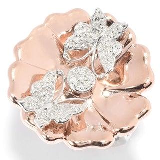 Michael Valitutti Palladium Silver Diamond Butterfly Flower Ring