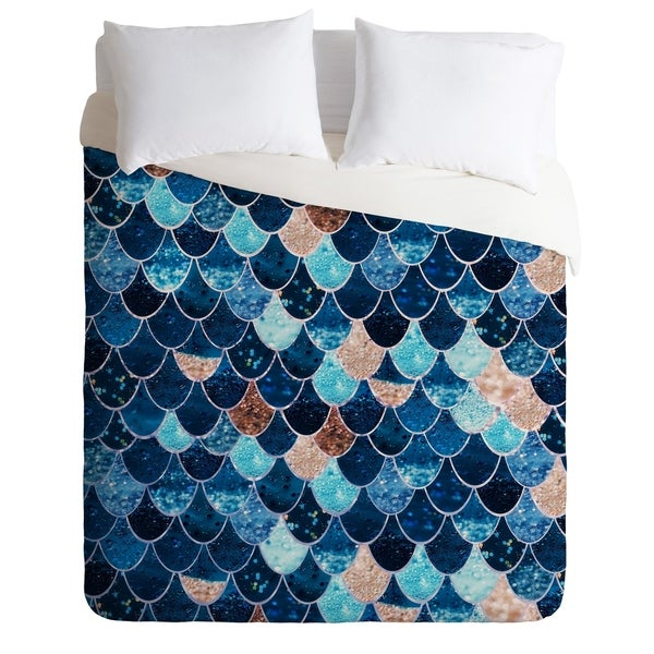 REALLY MERMAID BLUE AND GOLD Duvet Cover