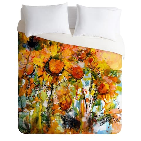 Deny Designs Abstract Sunflowers Duvet Cover Set -King