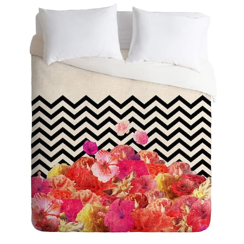 Chevron Flora Duvet Cover -King