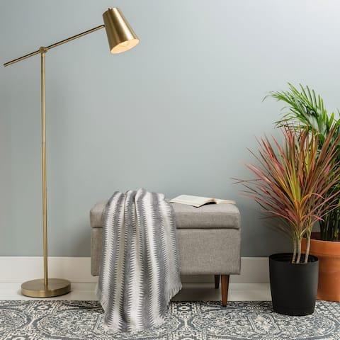 Deny Designs Black Seaside Stripe Woven Throw Blanket (50 in x 60 in)