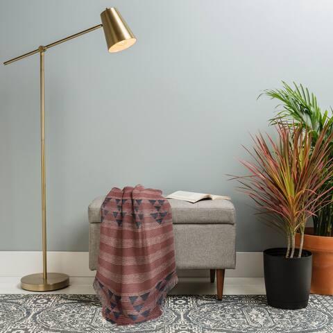 Deny Designs Marsala Stripe Woven Throw Blanket (50 in x 60 in)