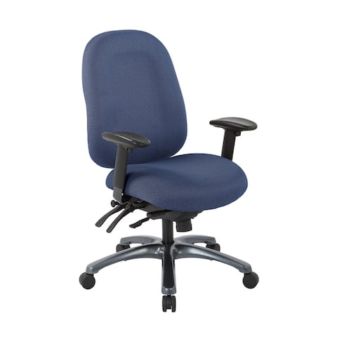 Multi-Function High-Back Office Chair with Seat Slider and Titanium Finish Base