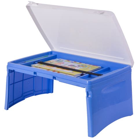 Kids Portable Fold-able Plastic Lap Tray, Blue and White