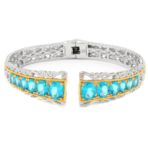 Michael Valitutti Palladium Silver Paraiba Color Topaz Hinged Cuff Bracelet