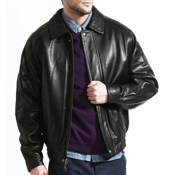 Shop Men's Black Lambskin Leather Baseball Bomber Jacket ...