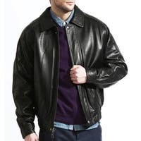 Men's Black Lambskin Leather Baseball Bomber Jacket