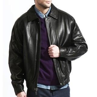 Men's Black Lambskin Leather Baseball Bomber Jacket
