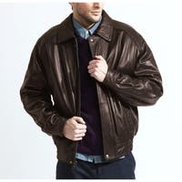 Men's Brown Lambskin Leather Baseball Bomber Jacket