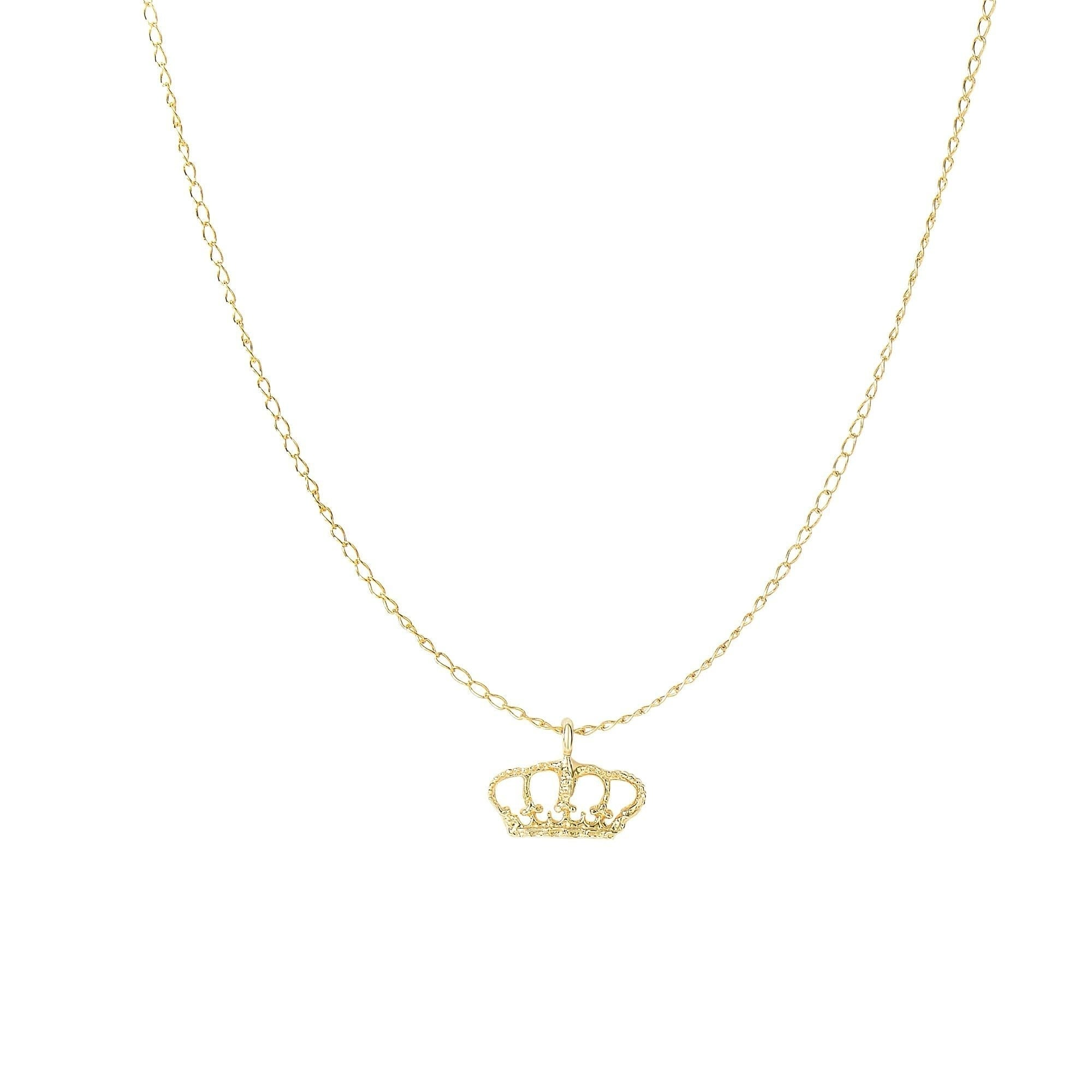 14k Solid Gold Crown Pendant With