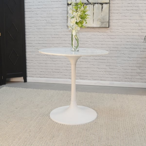 Shop Givseppe 30 Inch Round Marble Top Dining Table - Free ...