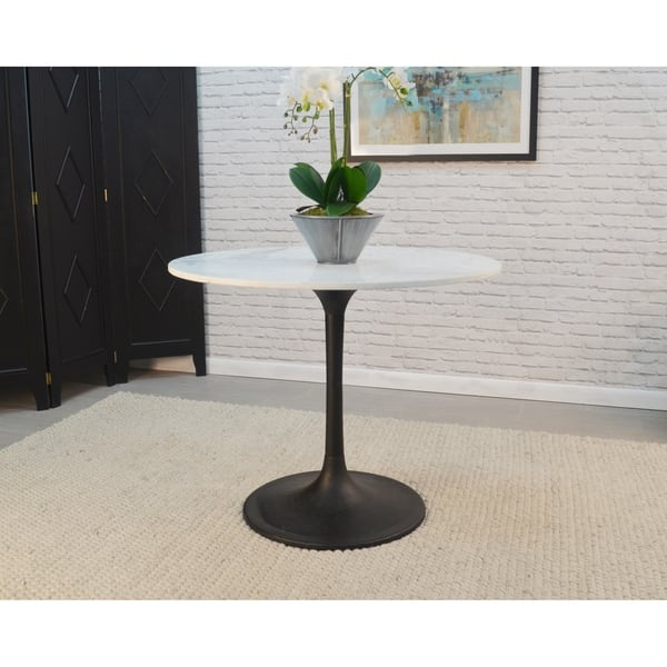 Givseppe 36 Inch Round Marble Top Dining Table Free