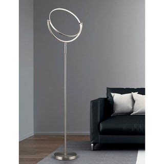 HomeGlam Circula Brushed Nickel Finish 75-inches High x 28-inches Wide Dimmable LED Floor Lamp