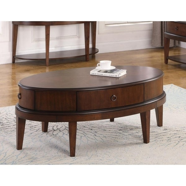 Shop Best Master Furniture Walnut Oval Coffee Table