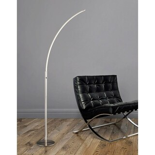 HomeGlam Horizon Brushed Nickel 66-inch 18-watt LED Arched Floor Lamp