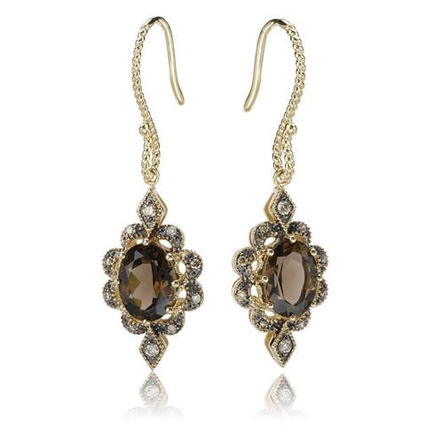 Avanti Gold Plated Sterling Silver Smoky Quartz and Brown CZ Earrings
