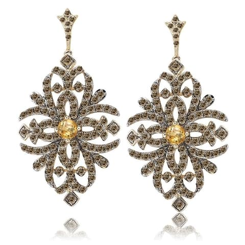 Avanti Gold Plated Sterling Silver Citrine and Brown CZ Earrings