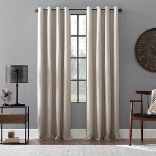 Archaeo Linen Blend Blackout Grommet Top Single Curtain Panel