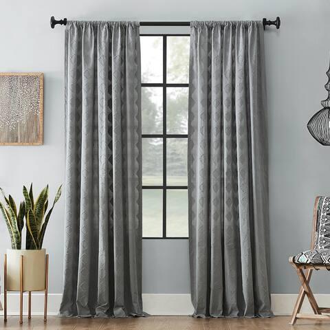 Archaeo Diamond Fray Cotton Single Curtain Panel