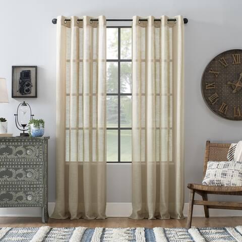Archaeo Slub Textured Linen Blend Grommet Top Curtain, Single Panel