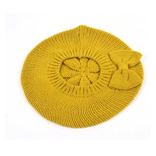 Women's Fashion Knitted Beret Gill Pattern with Bow 162HB