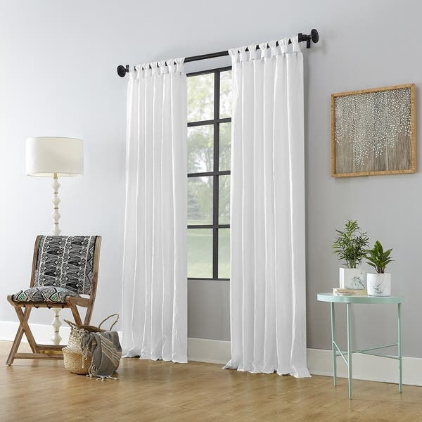 52 x 108 Panel White Archaeo Washed 100/% Cotton Twist Tab Curtain