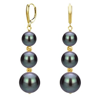 DaVonna 14k Gold Graduated Freshwater Pearl and Sparkling Beads Lever-back Earrings