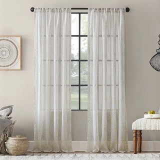 Archaeo Global Textured Cotton Blend Sheer Rod Pocket Curtain Panel