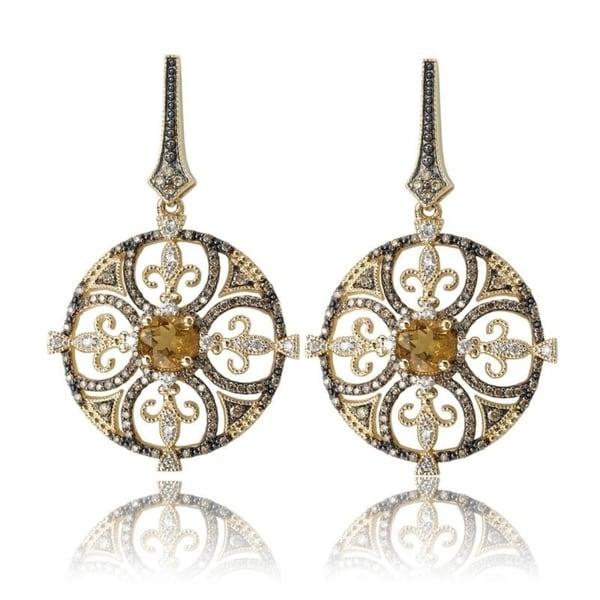 Avanti Gold Plated Sterling Silver Honey Quartz and CZ Dangle Earrings